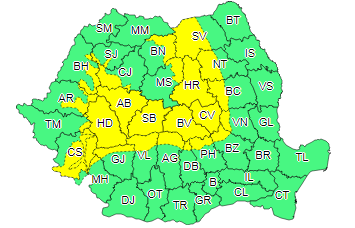 harta ploi Meteorologii au actualizat, sambata, atentionarea de ploi. Zonele vizate
