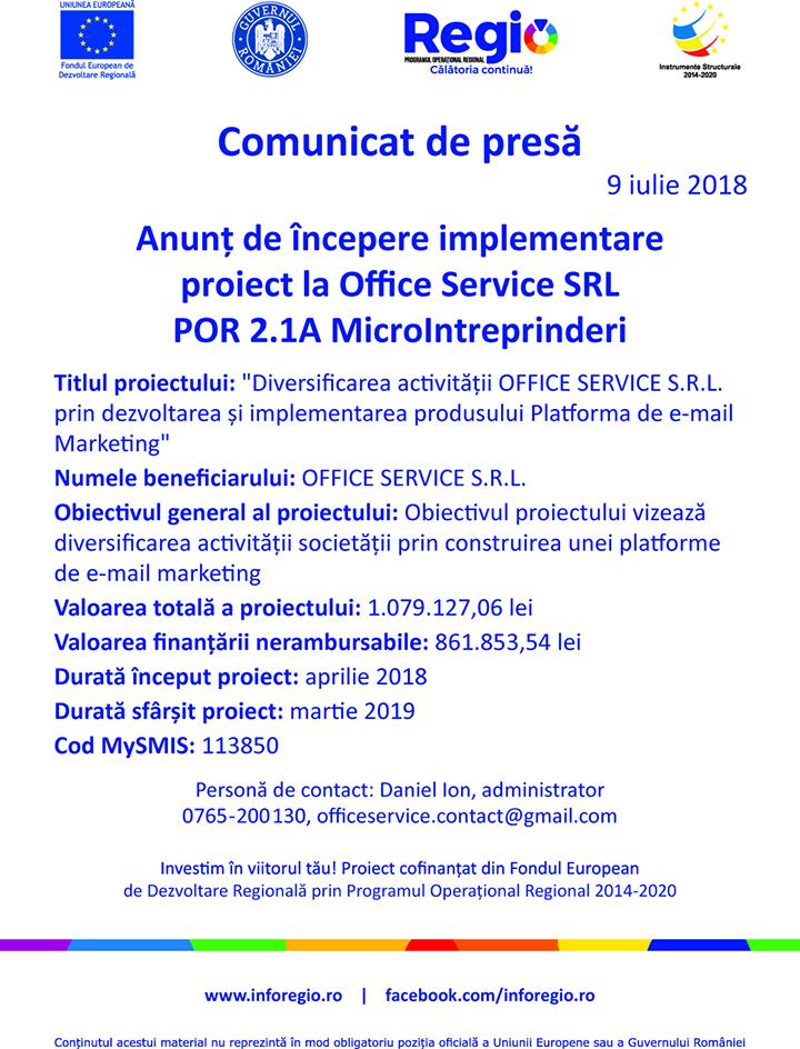 online tif Anunţ de începere implementare proiect la Office Service SRL POR 2.IA Microlntreprinderi