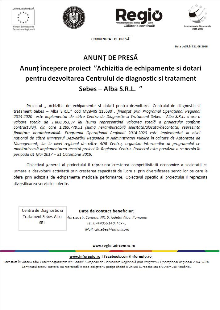 """21 2 Anunt incepere proiect """"Achizitia de echipamente si dotari pentru dezvoltarea Centrului de diagnostic si tratament Sebes – Alba S.R.L."""""""