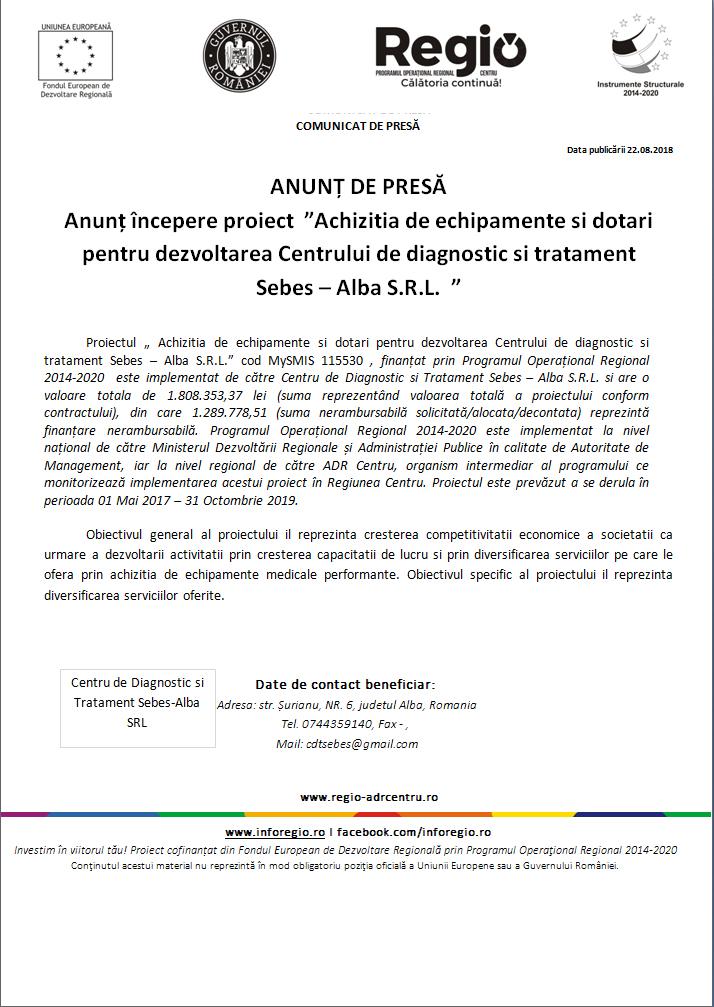 """22 4 Anunt incepere proiect """"Achizitia de echipamente si dotari pentru dezvoltarea Centrului de diagnostic si tratament Sebes – Alba S.R.L."""""""