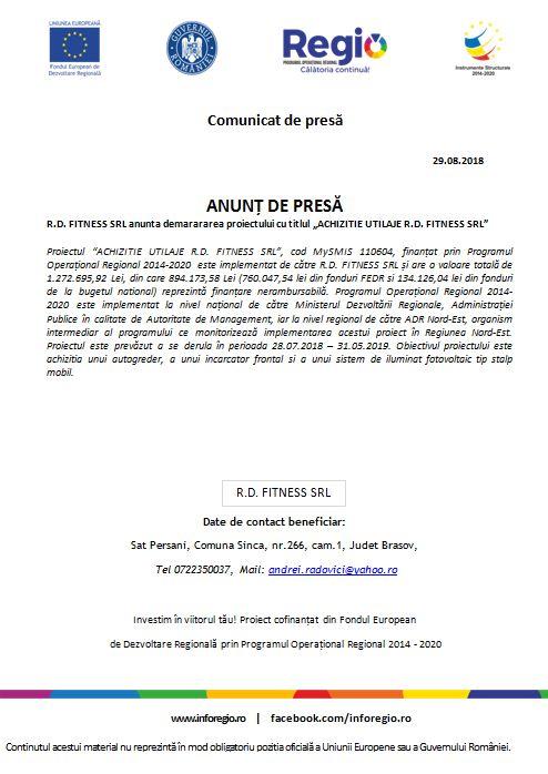 """anunt bun 29 ANUNȚ DE PRESĂ R.D. FITNESS SRL anunta demarararea proiectului cu titlul """"ACHIZITIE UTILAJE R.D. FITNESS SRL"""""""