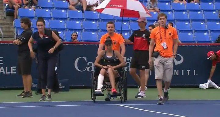 miha 720x383 Accidentare la Montreal. Mihaela a plans de durere si a parasit terenul in scaunul cu rotile (VIDEO)