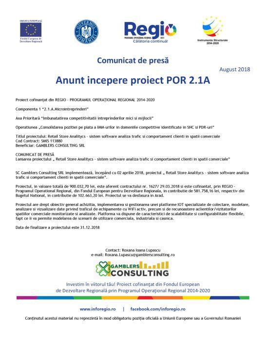 national POR Anunt incepere proiect POR 2.1A
