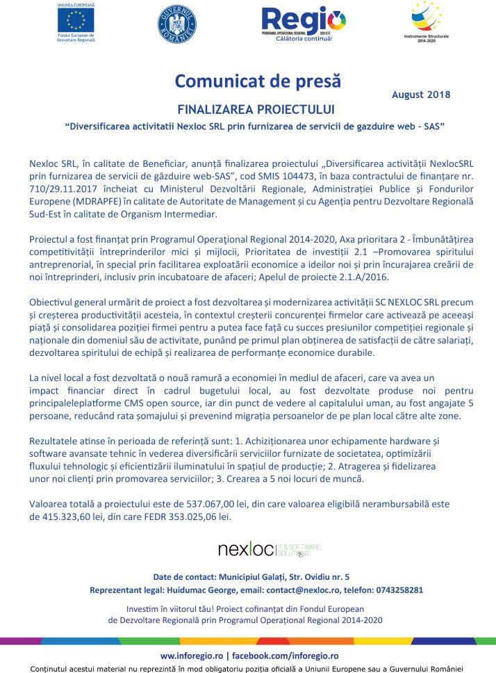 online bun Comunicat de presă FINALIZAREA PROIECTULUI Diversificarea activitatii Nexloc SRL prin furnizarea de servicii de gazduire web   SAS