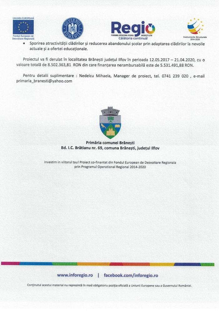 CCF24092018 0001 1 Comunicat de presă Finanțare nerambursabilă pentru proiectul Creșterea eficienței energetice pentru Colegiul Silvic Theodor Pietraru Cod SMIS 118705
