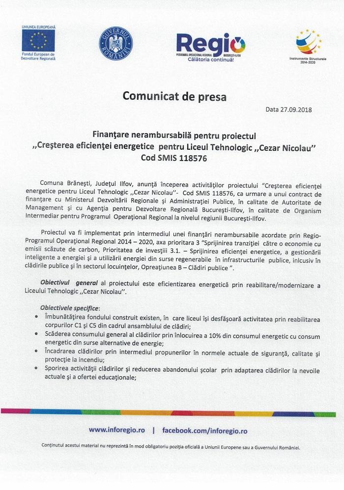 CCF24092018 0002 Comunicat de presa Finanțare nerambursabilă pentru proiectul Creșterea eficienței energetice pentru Liceul Tehnologic Cezar Nicolau Cod SMIS 118576