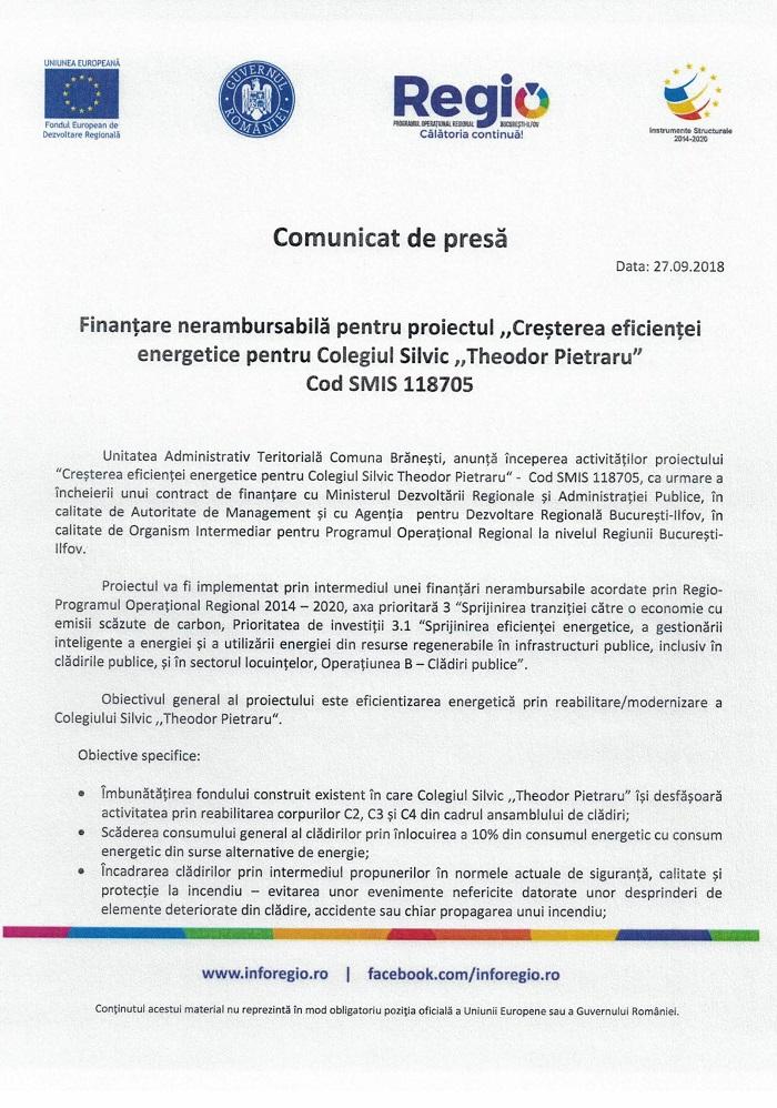 CCF24092018 1 Comunicat de presă Finanțare nerambursabilă pentru proiectul Creșterea eficienței energetice pentru Colegiul Silvic Theodor Pietraru Cod SMIS 118705