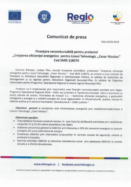 anunt 28 cezar 1 Comunicat de presa Finanțare nerambursabilă pentru proiectul Creșterea eficienței energetice pentru Liceul Tehnologic Cezar Nicolau Cod SMIS 118576