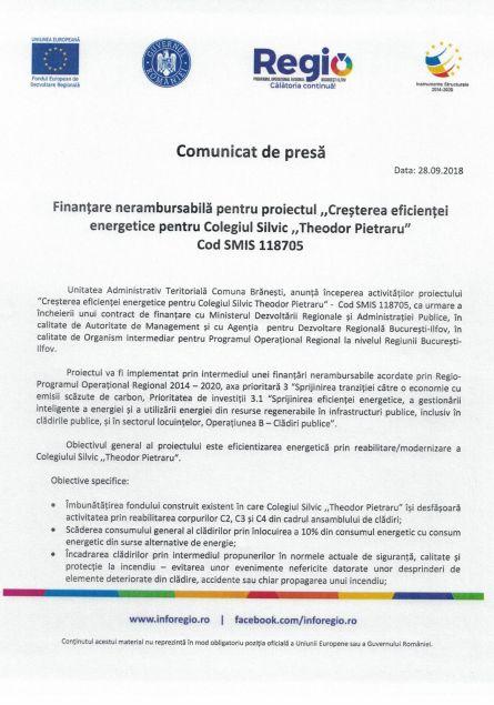 anunt 28 pietraru 1 Comunicat de presă Finanțare nerambursabilă pentru proiectul Creșterea eficienței energetice pentru Colegiul Silvic Theodor Pietraru Cod SMIS 118705