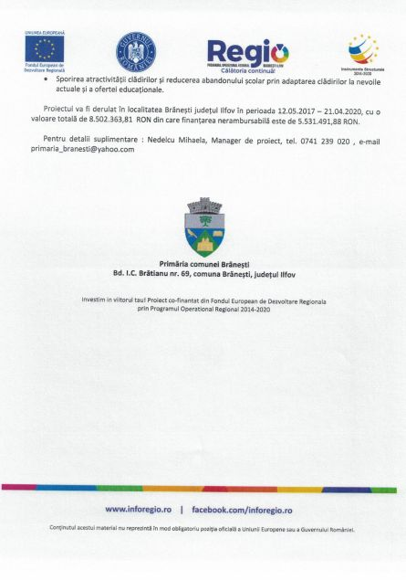 anunt 28 pietraru 2 Comunicat de presă Finanțare nerambursabilă pentru proiectul Creșterea eficienței energetice pentru Colegiul Silvic Theodor Pietraru Cod SMIS 118705
