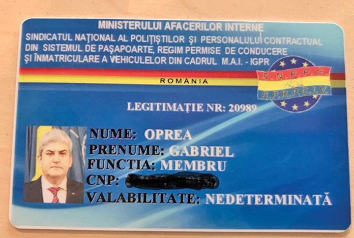 legitimatie oprea Oprea s a facut membru in Sindicatul Politistilor in timp ce era judecat pentru moartea lui Gigina
