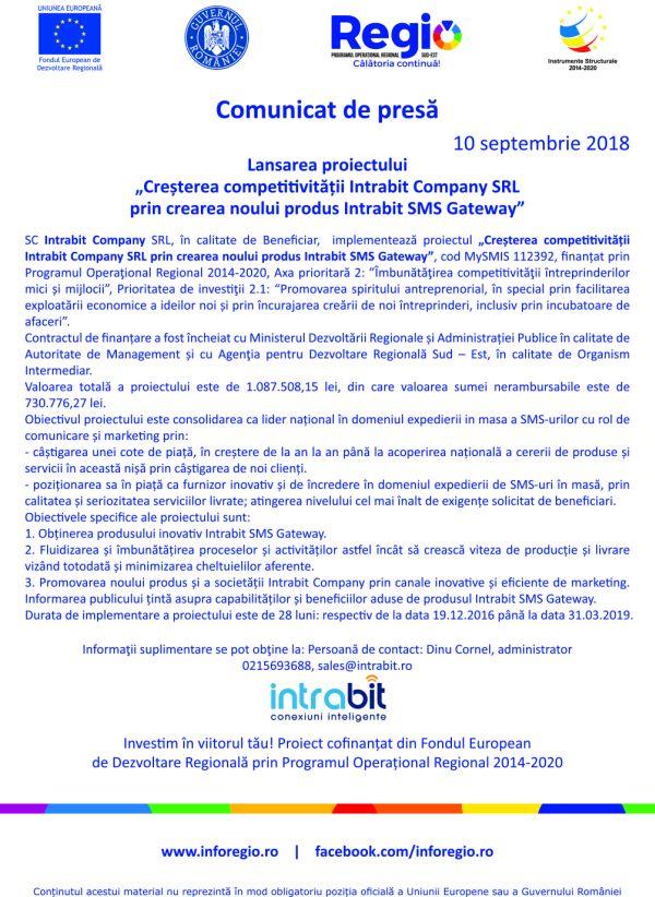 national pt 10 sept Comunicat de presă Lansarea proiectului Creșterea competitivității Intrabit Company SRL prin crearea noului produs Intrabit SMS Gateway