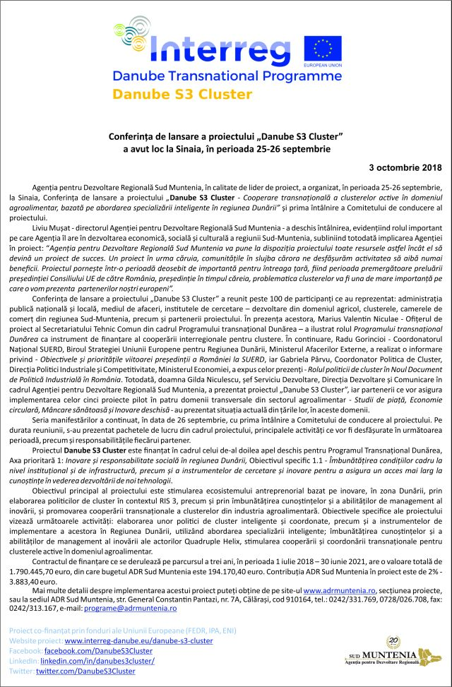 """National online 3oct ok Conferința de lansare a proiectului """"Danube S3 Cluster"""""""