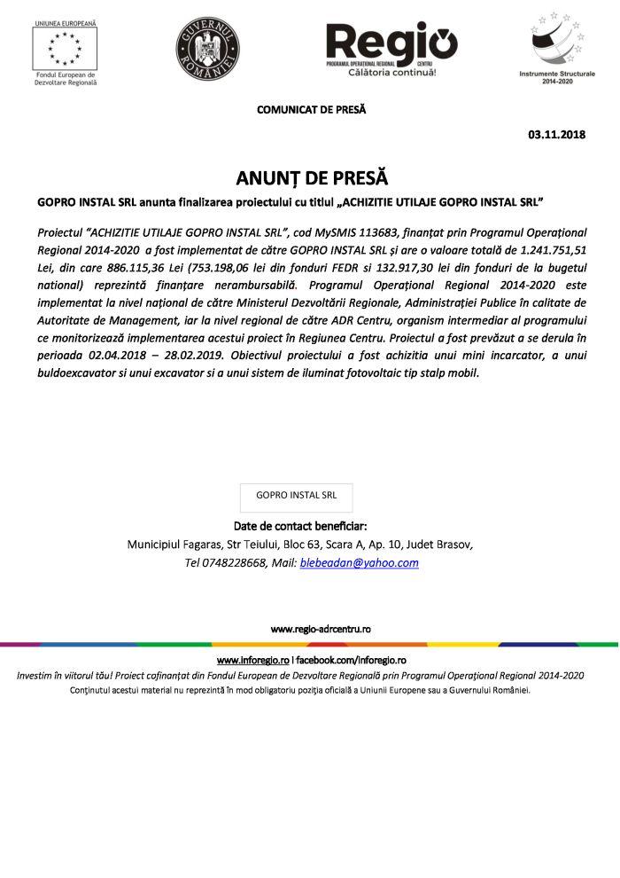 """03.11.2018 gopro ANUNȚ DE PRESĂ GOPRO INSTAL SRL anunta finalizarea proiectului cu titlul """"ACHIZITIE UTILAJE GOPRO INSTAL SRL"""""""
