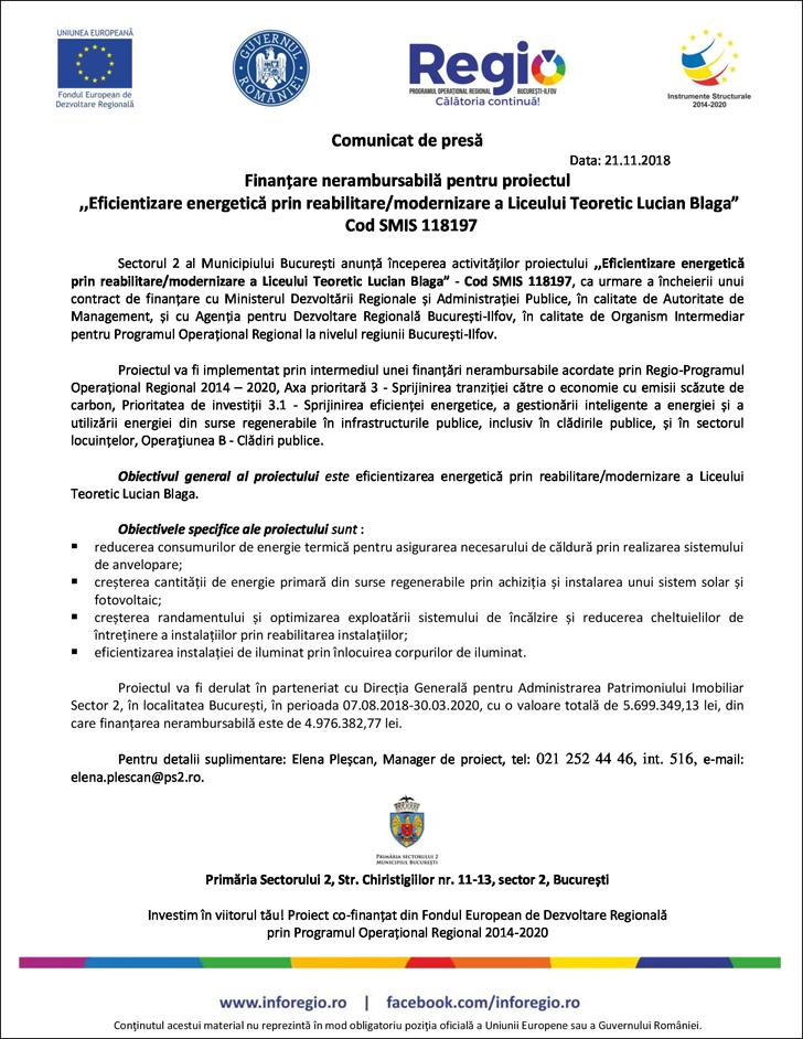 """21.11 Comunicat de presă  Finanțare nerambursabilă pentru proiectul """"Eficientizare energetică prin reabilitare/modernizare a Liceului Teoretic Lucian Blaga"""" Cod SMIS 118197"""