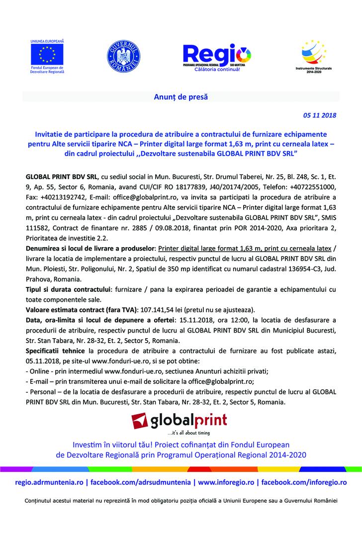 Anunt in presa invitatie de participare 2 10 x 15 cm copy Anunt de presa   Dezvoltare sustenabila GLOBAL PRINT BDV SRL