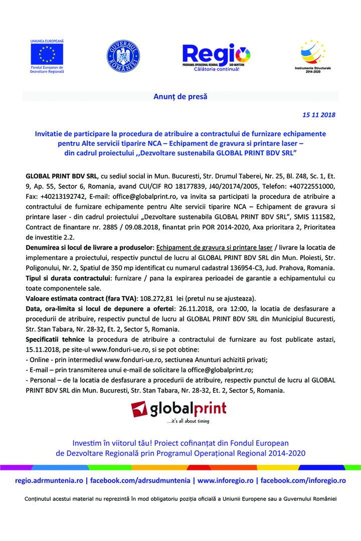 "Anunt in presa invitatie de participare 5 10 x 15 cm copy Anunt de presa – ""Dezvoltare sustenabila GLOBAL PRINT BDV SRL"""