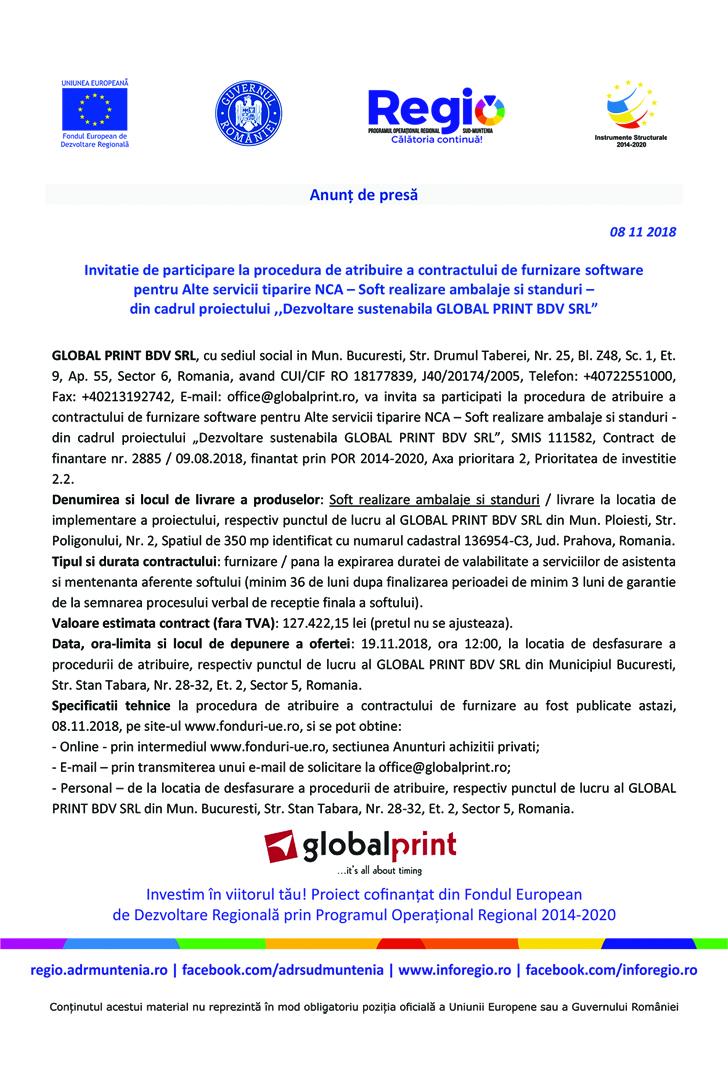 "Tipografie Global Print Anunt Achizitie Software copy Anunt de presa – ""Dezvoltare sustenabila GLOBAL PRINT BDV SRL"""