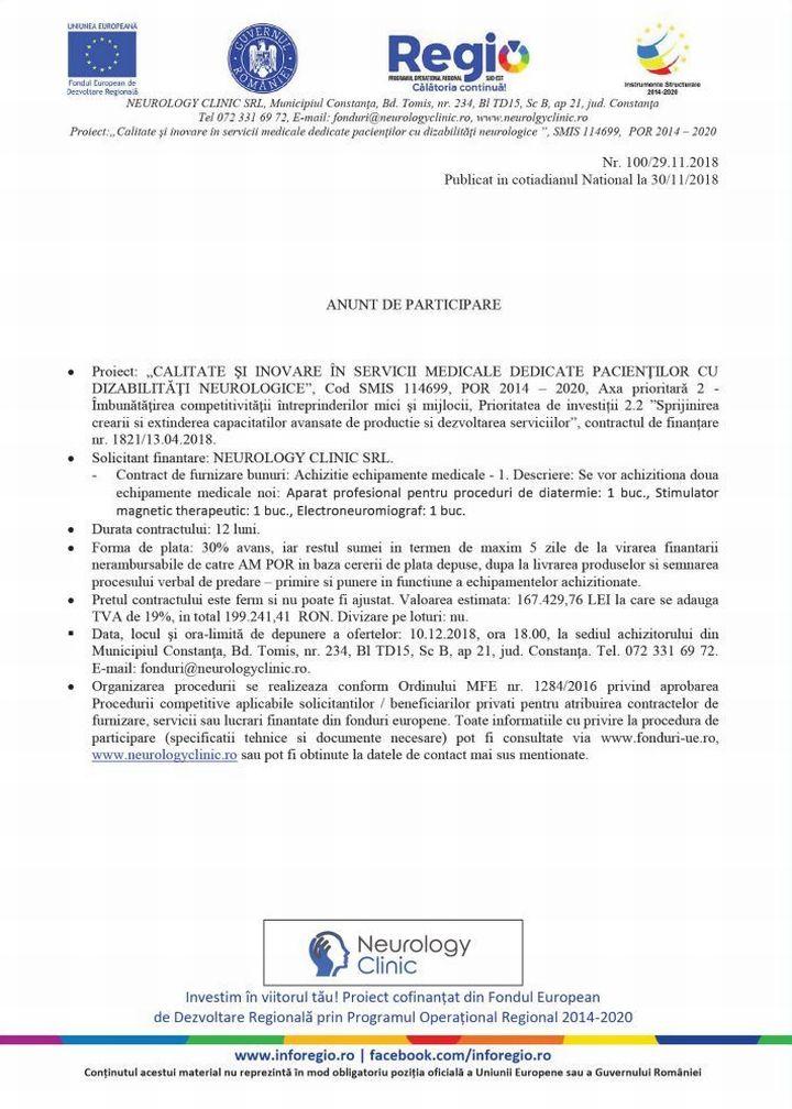 anunt ziar 100 ANUNT DE PARTICIPARE Nr. 100