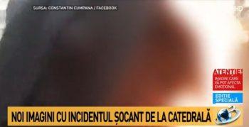 incid 350x179 Incident in apropierea Catedralei Neamului: un barbat in straie preotesti si a dat foc la haina