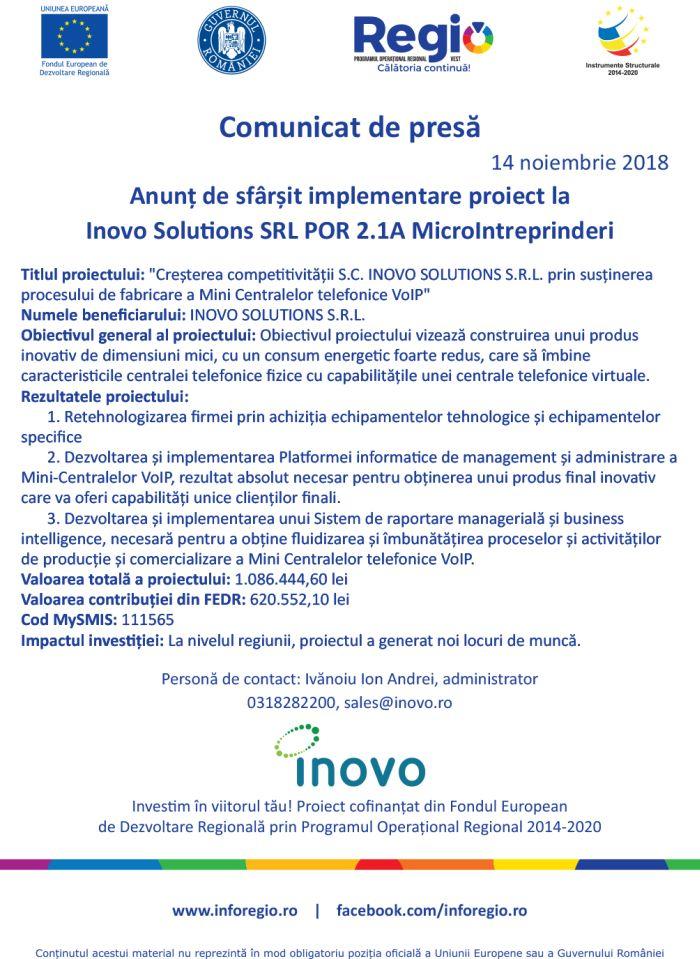 inovo 14.11.2018 Comunicat de presă  Anunț de sfârșit implementare proiect la Inovo Solutions SRL POR 2.1A MicroIntreprinderi