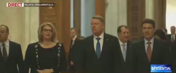 sedinta 1 Sedinta solemna. Iohannis, intampinat la Parlament de Alina Gorghiu si Georgian Pop