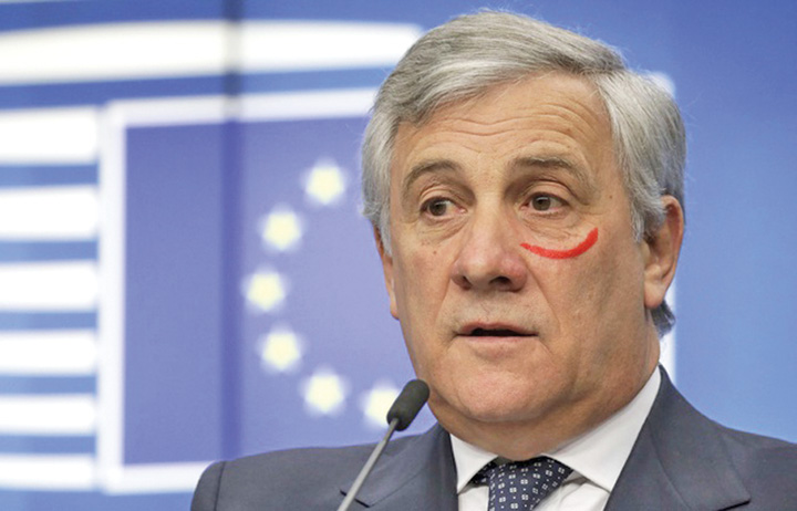 """tajani Presedintele Parlamentului European, cu un ochi """"invinetit"""""""