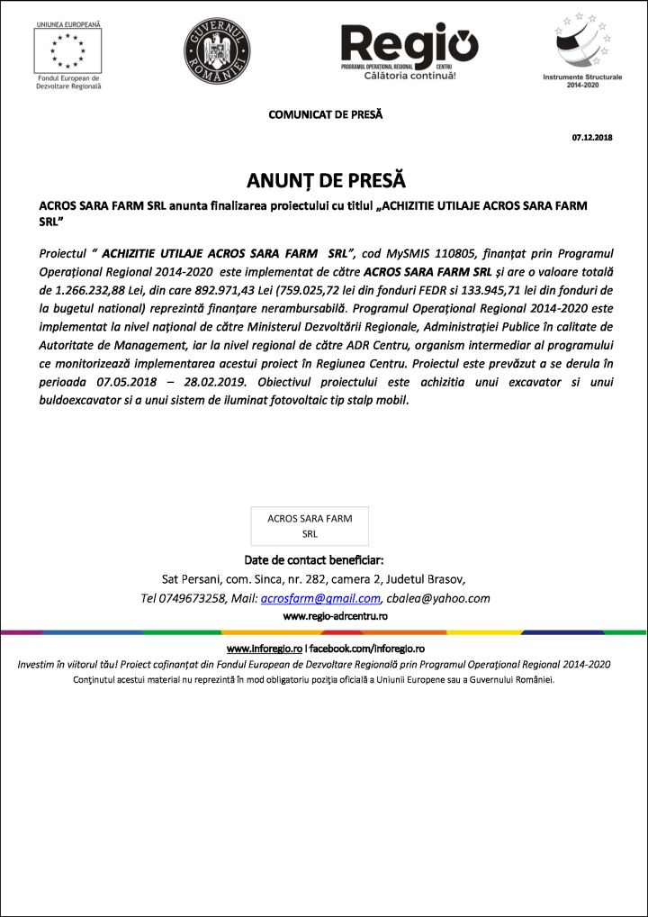 """07.12.2018 acros ANUNȚ DE PRESĂ ACROS SARA FARM SRL anunta finalizarea proiectului cu titlul """"ACHIZITIE UTILAJE ACROS SARA FARM SRL"""""""
