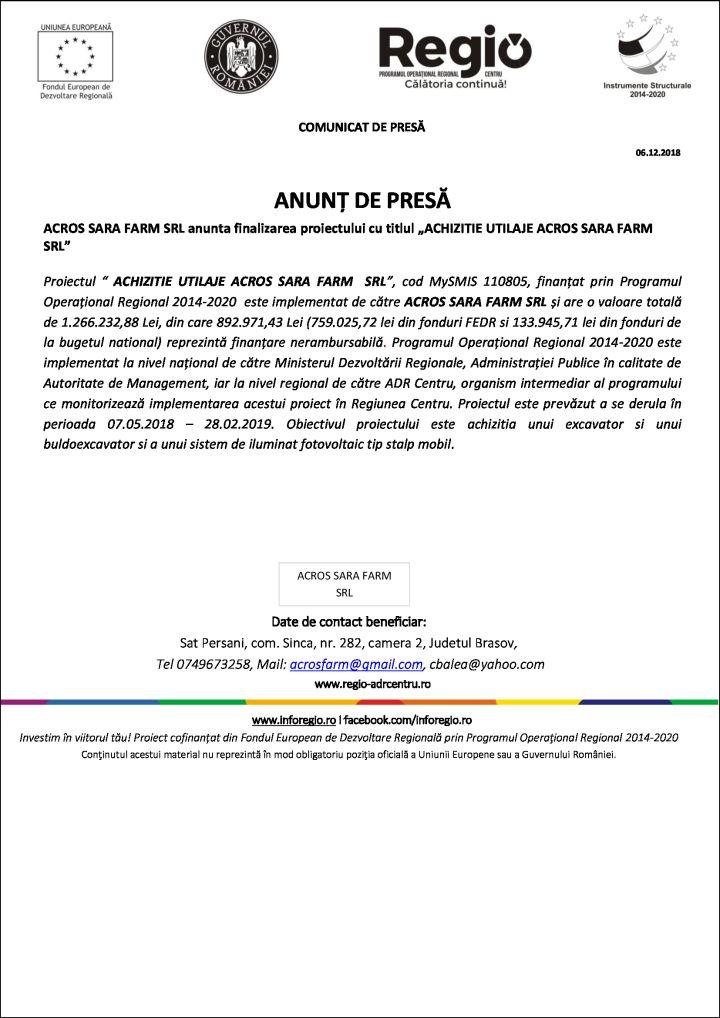 """acros 06.12.2018 ANUNȚ DE PRESĂ ACROS SARA FARM SRL anunta finalizarea proiectului cu titlul """"ACHIZITIE UTILAJE ACROS SARA FARM SRL"""""""