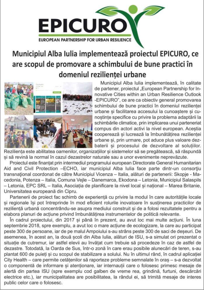 epicuro141x200 online compresed for werb Municipiul Alba Iulia implementează proiectul EPICURO, ce are scopul de promovare a schimbului de bune practici în domeniul rezilienței urbane