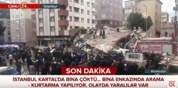 cladire 350x173 O cladire s a prabusit in Istanbul. Imagini de la fata locului