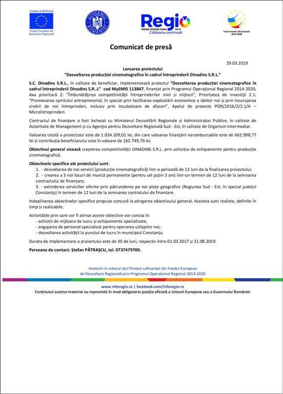 29.03.2019 Lansarea proiectului Dezvoltarea producției cinematografice în cadrul întreprinderii Dinadins S.R.L