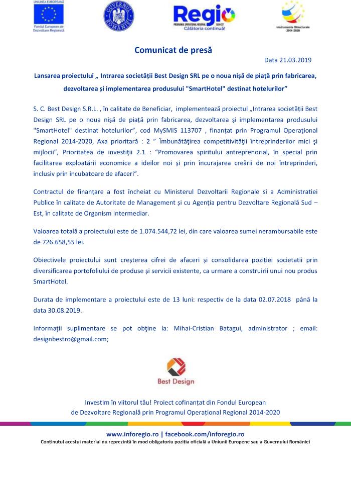 BestDesign comunicat de presa rev 21 martie Comunicat de presa: Lansarea proiectului Intrarea societatii Best Design SRL pe o noua nisa de piata prin fabricarea, dezvoltarea si implementarea produsului SmartHotel destinat hotelurilor