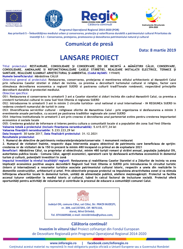 Comunicat de presa 08 Comunicat de presa   Lansare Proiect Manastirea Calui