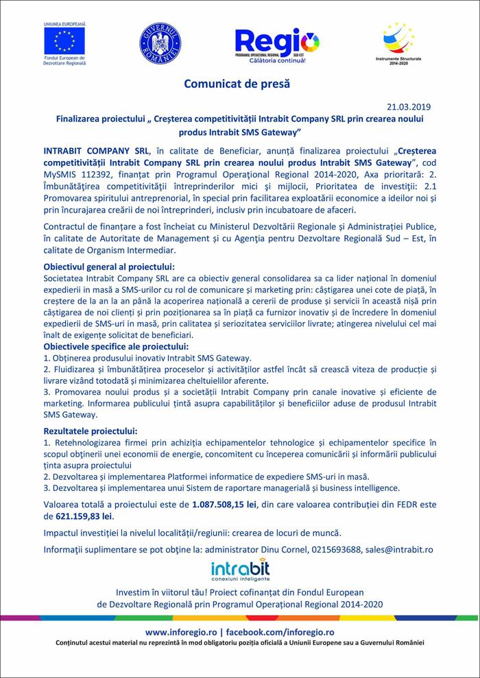 Nationa online Comunicat de presa: Finalizarea proiectului Cresterea competitivitatii Intrabit Company SRL prin crearea noului produs Intrabit SMS Gateway