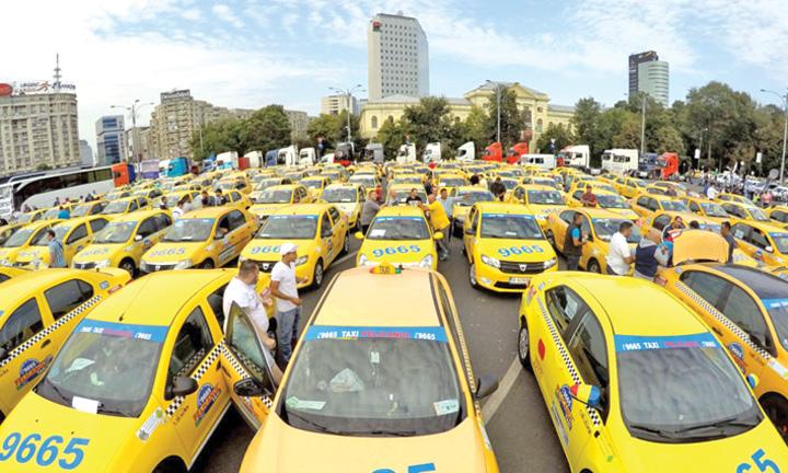 protest taxiuri piata victoriei Uber si Taxify, scoase in afara legii