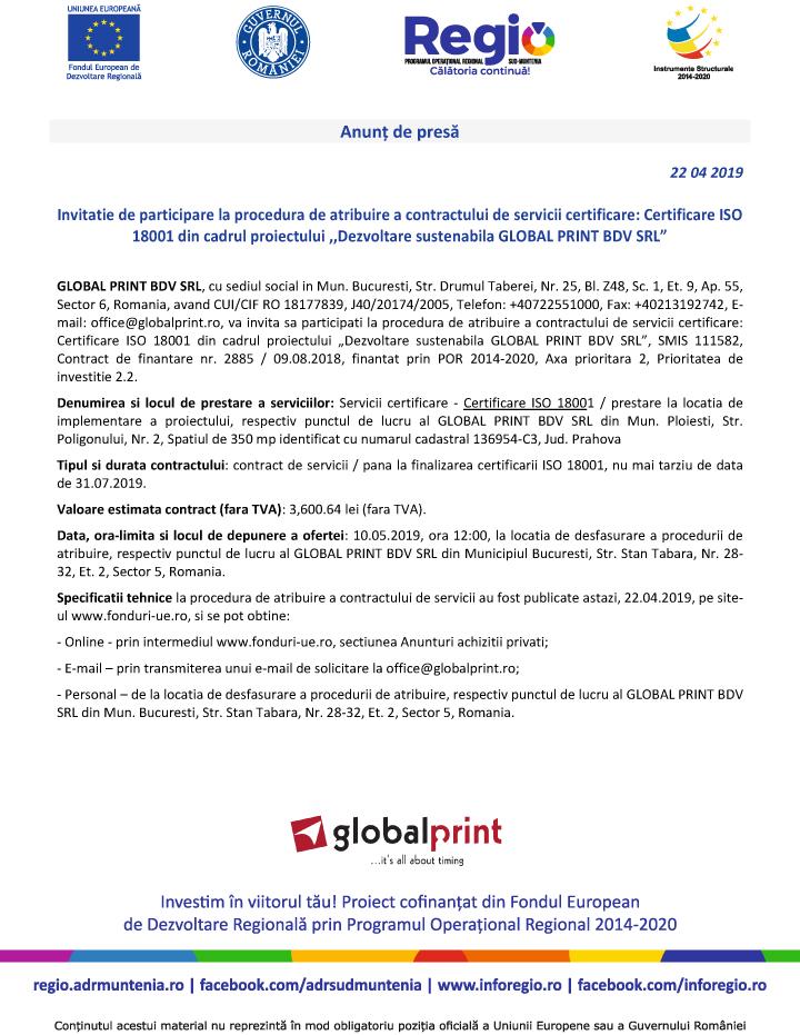 "Anunt2 Anunt de presa – ""Dezvoltare sustenabila GLOBAL PRINT BDV SRL"""