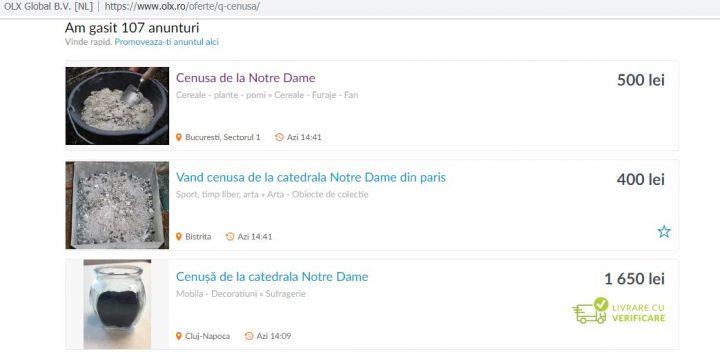 cenus 720x352 Ce le a mai trecut unora prin minte: vand cenusa de la Notre Dame