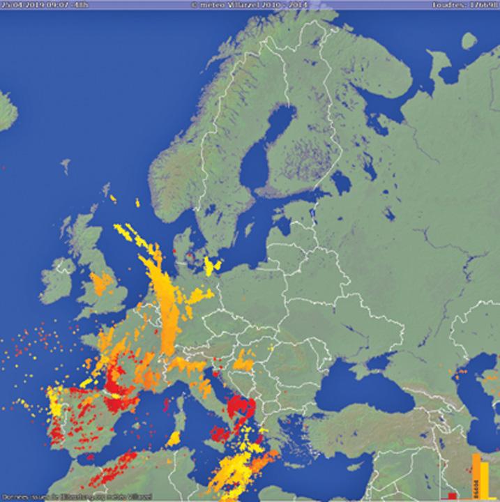 harta fulgere1 Europa, lovita de peste 175.000 de fulgere in 2 zile