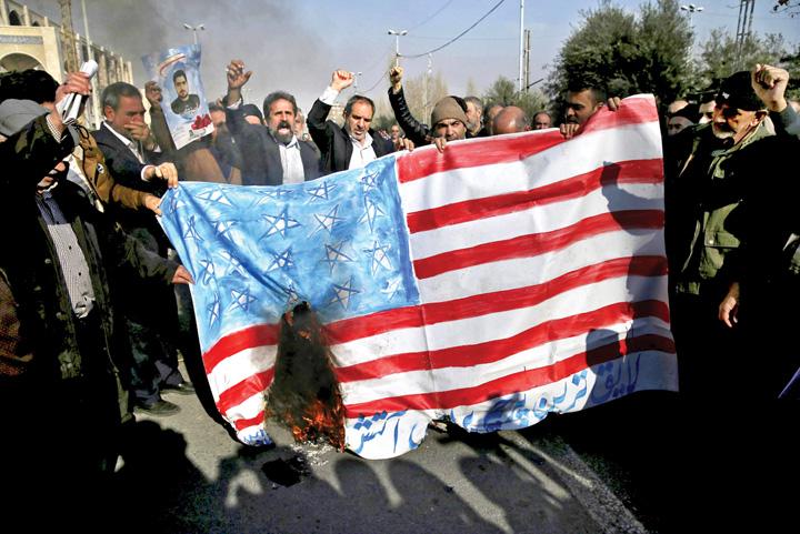 iran us flag protest America impotriva tuturor