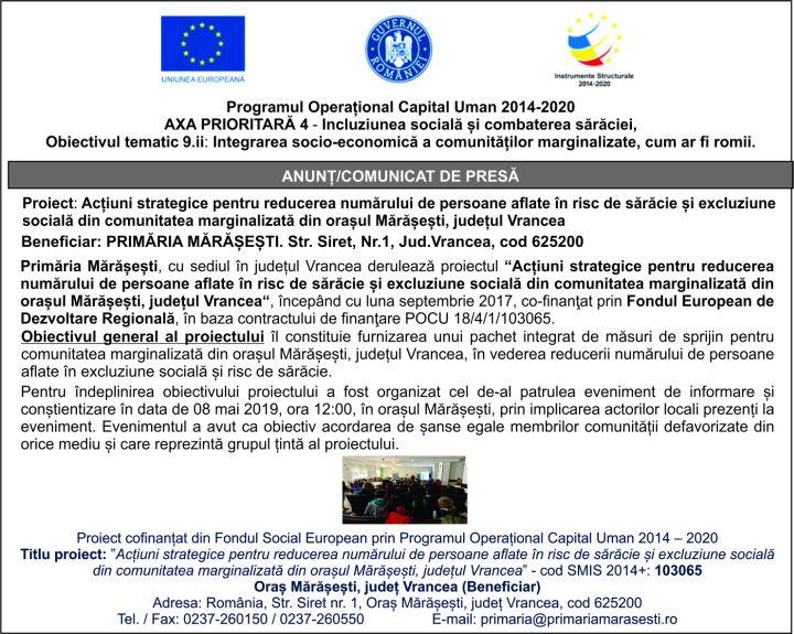 National online 14 mai Programul Operațional Capital Uman 2014 2020  AXA PRIORITARĂ 4   Incluziunea socială și combaterea sărăciei, Obiectivul tematic 9.ii: Integrarea socio economică a comunităților marginalizate, cum ar fi romii.